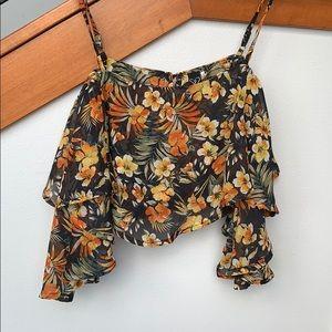 Floral off shoulder crop shirt